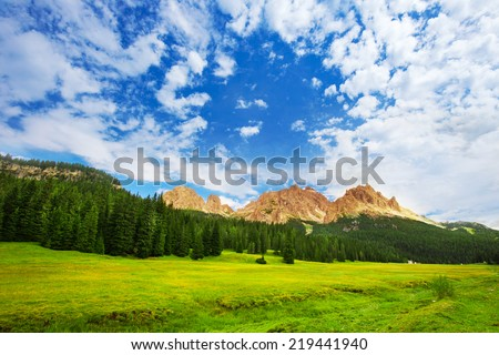Monte Piana montains surrounding by conifer forest near The Tre Cime di Lavaredo, Dolomites, Italia - stock photo