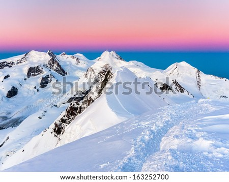 Monte Rosa massif from Breithorn summit - stock photo