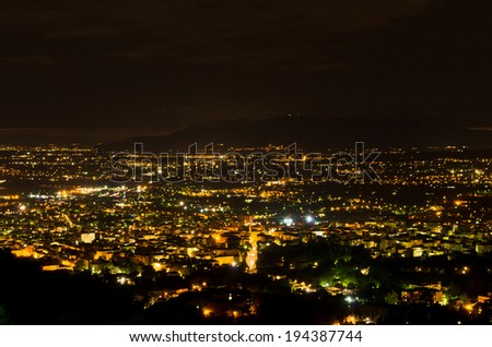 Montecatini Terme by night, near Florence in Tuscany, Italy