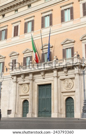 Montecitorio Palace, Rome, Italy - Home to Italy's Chamber of Deputies - stock photo