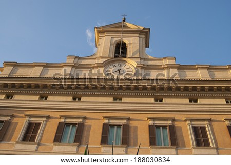 Montecitorio Palace seat of the Italian Parliament - stock photo