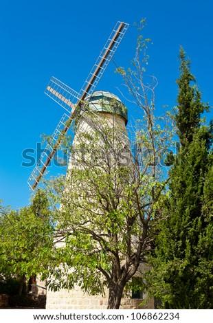 Montefiore Windmill in Jerusalem, Israel - stock photo