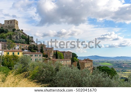 Montemassi is a village in tuscany, central italy, located on a hill/ picturesque medieval village