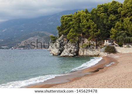 Montenegro, Budva Riviera, the park next to the island of Sveti Stefan. - stock photo