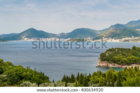 Montenegro coastline, Adriatic sea bay and mountain range summer landscape from viewpoint near Budva.