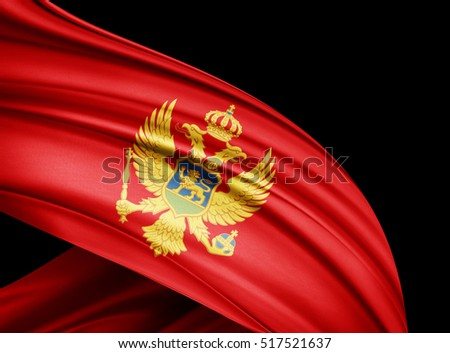 Montenegro flag of silk with copyspace for your text or images and black  background -3D illustration