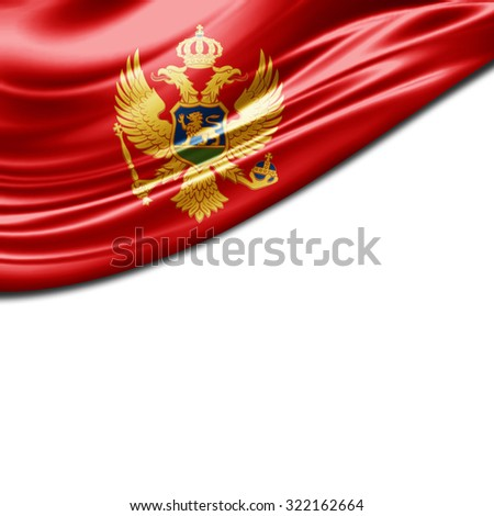 Montenegro  flag of silk with copyspace for your text or images and White background