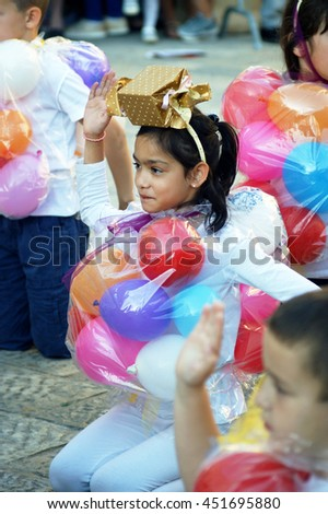 "Montenegro, Herceg Novi - 04/06/2016: Carnival group ""Sweet candy."" 10 International Children's Carnival"