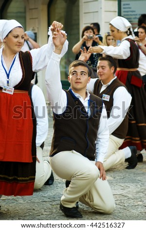 "Montenegro, Herceg Novi - 28/05/2016:  Dance of the Croatian group ""Rakalj"". 3 International Folklore Festival ""Meeting of the summer"""