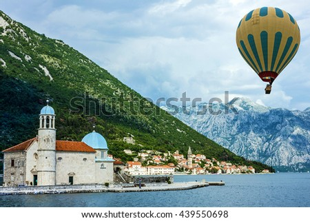 Montenegro. Kotor bay. Seascape, Monastery on the island in Perast