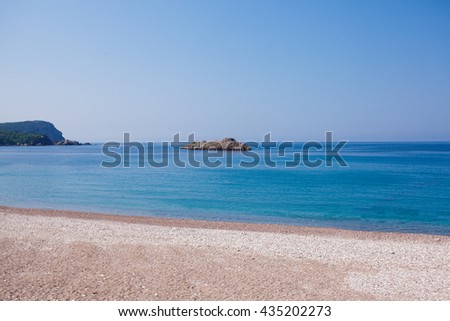 Montenegro seashore, Becici resort, view from the beach