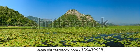 Montenegro, skadar Lake panorama, Balkans, Shkoder - stock photo
