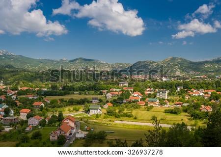 Montenegro village landscape view at summer sunny day. Montenegro. - stock photo