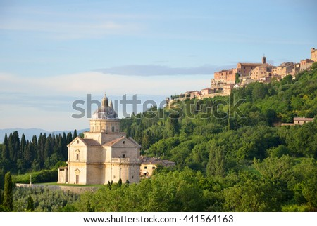 MONTEPULCIANO, ITALY - JUNE 6 2016: Church of the Madonna di San Biagio was consecrated by Pope Clement VII in 1529 and construction of it lasted until 1580.