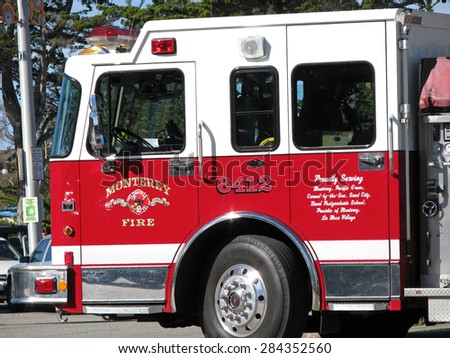 MONTEREY, CA - NOVEMBER 14:  Monterey Fire Department Engine 6412 Truck  2012 - stock photo