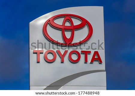 MONTEREY, CA/USA - FEBRUARY 13, 2014: Toyota automobile dealership sign. Toyota is a multi-national Japanese automotive manufacturer. - stock photo