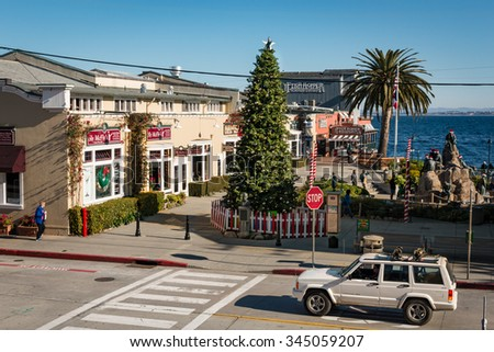 MONTEREY, CALIFORNIA, UNITED STATES, November 29, 2015: Steinbeck Plaza at Cannery Row, Monterey.