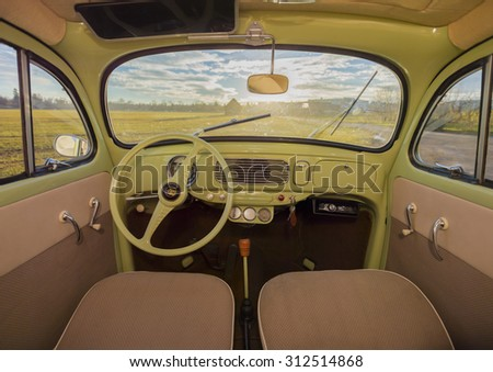 MONTEREY CAR WEEK August 16, 2015: Green Interior from the 1st Volkswagen Beetle of the 50s  - stock photo
