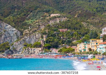 Monterosso al Mare, a coastal village and resort in Cinque Terre, Italy  - stock photo