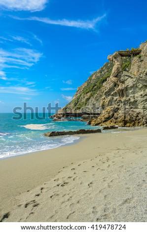 Monterosso al mare (Cinque terre) - scenic Ligurian coast, Italy - stock photo