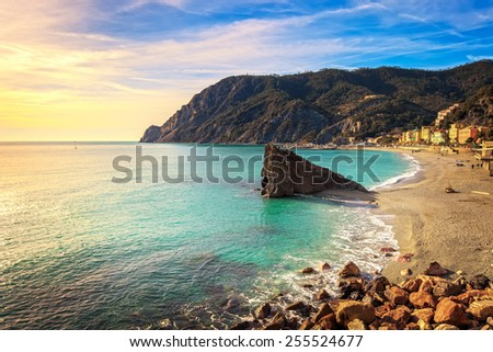 Monterosso beach, sea bay and rocks landscape. Five lands, 5 terre, Ligury Italy
