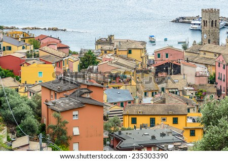 Monterosso in Cinque Terre, Italy, view at the town from mountain trail - stock photo