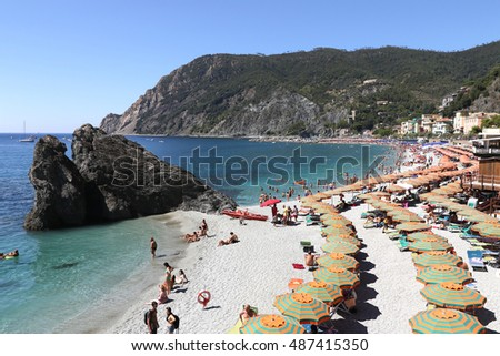 MONTEROSSO, ITALY - AUGUST 2016: View of MONTEROSSO beach in Italy - Beautiful Cinque Terre - Unesco World Heritage Site, August 15, 2016