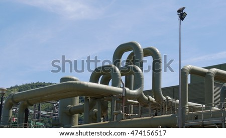 MONTEROTONDO, ITALY - CIRCA JULY 2016:  the piping of the geothermal power plant of Monterotondo, Tuscany, Italy.