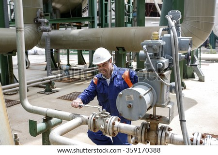 MONTEROTONDO MARITTIMO, ITALY - 29 MAY 2013: A technician checking a valve in pipework at a geothermal power station.