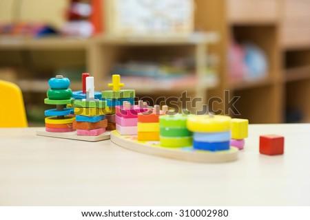 Montessori material - Kindergarten Preschool Classroom - stock photo