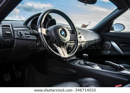 Montevecchia, Italy - August 14, 2014: BMW Z4 interior detail.