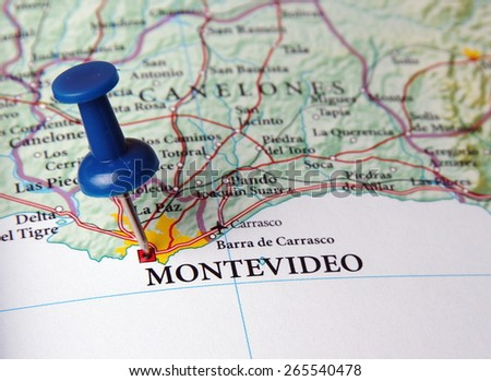 Montevideo  destination in the map - stock photo