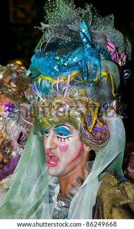 MONTEVIDEO, URUGUAY - JAN 27: An unidentified costumed carnival participant takes part in the annual national festival of Uruguay on January 27 2011 in Montevideo Uruguay