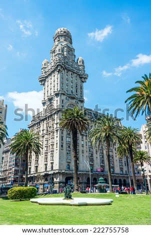 MONTEVIDEO, URUGUAY, OCTOBER 8 - Salvo Palace on the Independence Square, a national icon, renovated  for the season, on October 8, 2014 in Montevideo, Uruguay - stock photo