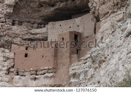 Montezuma Castle National Monument ,cliff dwelling ruins - stock photo