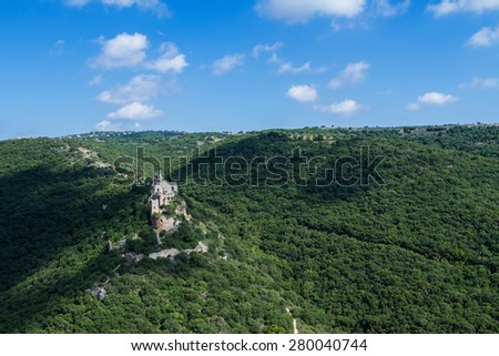Montfort (Shtarkenberg) is a ruined crusader castle in the Upper Galilee region in northern Israel. - stock photo