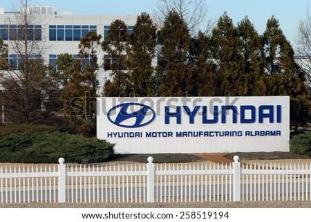 MONTGOMERY, AL-CIRCA JANUARY 2015: Hyundai Motors is now assembling both the Elantra and Sonata passenger cars at its huge Alabama plant. - stock photo