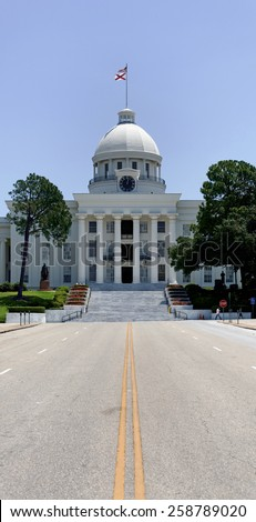 MONTGOMERY, AL - JUNE 17: The Alabama State Capitol building located in downtown Montgomery on June 17, 2012. The building is listed on the National Register of Historic Places. - stock photo