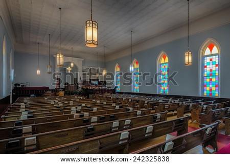 MONTGOMERY, ALABAMA - DECEMBER 3: Dexter Avenue King Memorial Baptist Church (1889) on December 3, 2014 in Montgomery, Alabama - stock photo