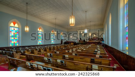 MONTGOMERY, ALABAMA - DECEMBER 3: Dexter Avenue King Memorial Baptist Church (1889) on December 3, 2014 in Montgomery, Alabama - stock photo
