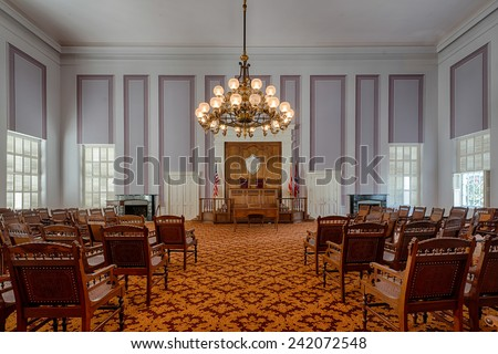 MONTGOMERY, ALABAMA - DECEMBER 3: Old House of Representatives chamber in the Alabama State Capitol building on December 3, 2014 in Montgomery, Alabama