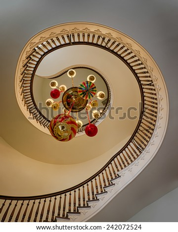 MONTGOMERY, ALABAMA - DECEMBER 3: One of a pair of three-story spiral staircases in the Alabama State Capitol building on December 3, 2014 in Montgomery, Alabama - stock photo