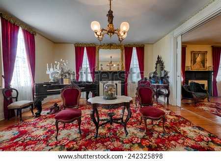 MONTGOMERY, ALABAMA - DECEMBER 3: The First Parlor in the First White House of the Confederacy on December 3, 2014 in Montgomery, Alabama  - stock photo