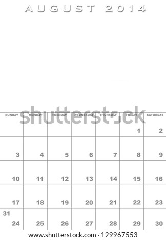 Month August 2014 Calendar Template Background Stock Illustration