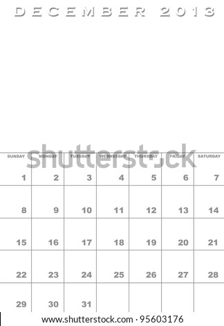 Month of December 2013 calendar template background with space for images - stock photo