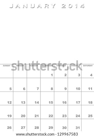 Month January 2014 Calendar Template Background Stock Illustration