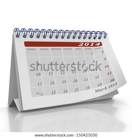 Month of March 2014 desktop Organizer on a white background with a page curl on the top page - stock photo