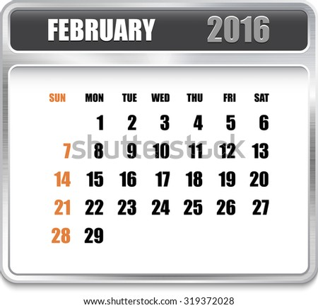 Monthly calendar for February 2016 on metallic plate, orange holidays. Can be used for business and office calendars, website design, prints etc.