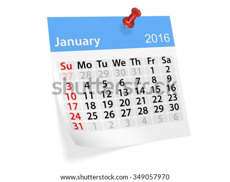 Monthly calendar for January 2016. 3d illustration - stock photo