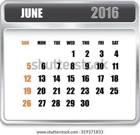 Monthly calendar for June 2016 on metallic plate, orange holidays. Can be used for business and office calendars, website design, prints etc.